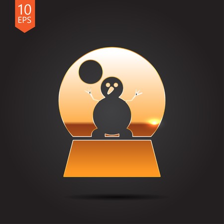 augur: Vector christmas icon. New year illustration.  Snow globe with snowman