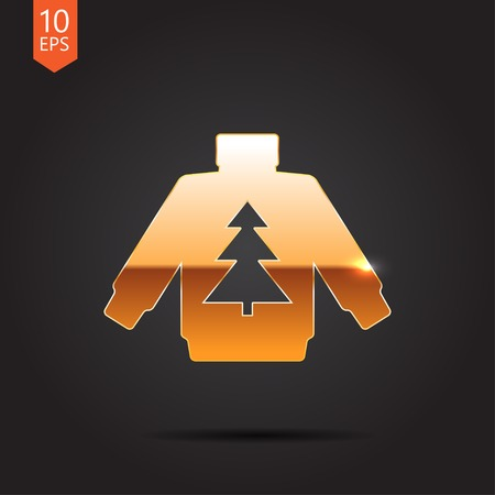 Vector christmas icon. New year illustration. Pullover with christmas tree