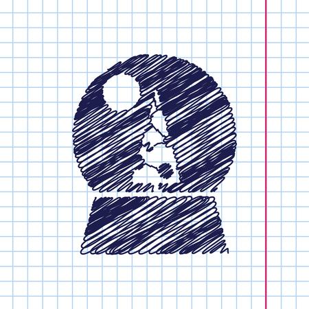 augur: Vector christmas icon. New year illustration.  Snow globe