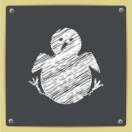 nestling: Little chicken nestling sitting. Vector bird icon
