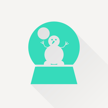 sphere base: Vector christmas icon. New year illustration.  Snow globe with snowman