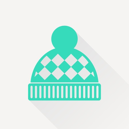 winter hat: Vector christmas icon. New year illustration. Winter hat