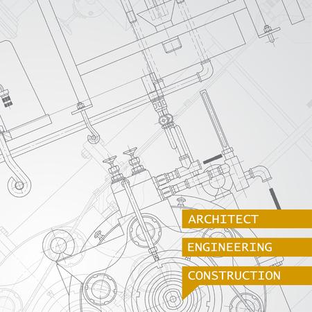 blueprint: Vector technical blueprint of  mechanism. Engineer illustration. Set of corporate identity templates. Vector illustration. Eps10 Illustration