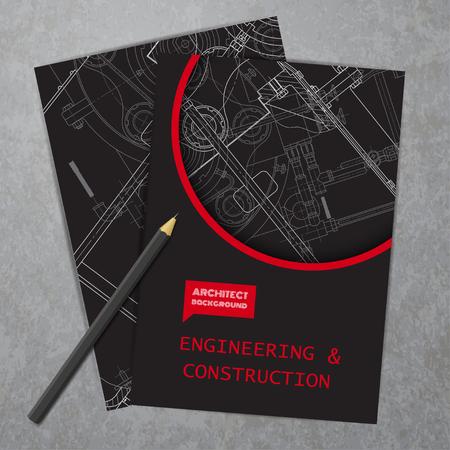 presentation card: Vector technical blueprint of  mechanism. Engineer illustration. Set of corporate identity templates. Vector illustration. Eps10 Illustration