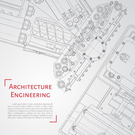 Vector technische blauwdruk van mechanisme. Ingenieur illustratie. Set huisstijlsjablonen. Architectuur achtergrond Stock Illustratie
