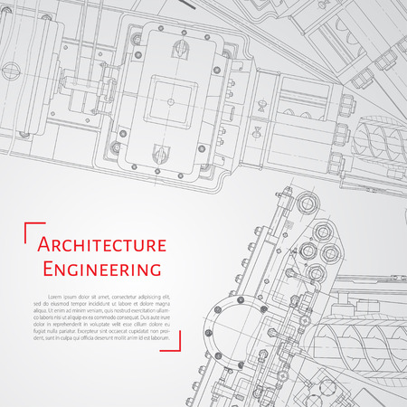 Vector technische blauwdruk van het mechanisme. Ingenieur illustratie. Set van corporate identity sjablonen. Achtergrond van de architectuur
