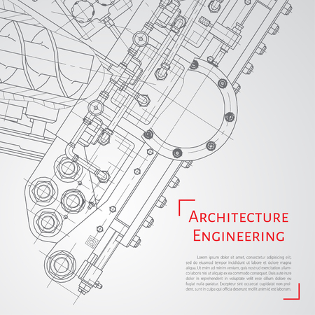 architectural design: Vector technical blueprint of  mechanism. Engineer illustration. Set of corporate identity templates. Architecture Background