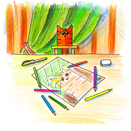poser: Illustration of Red Cat posing for artist. Hand draw doodle. Color pencil art