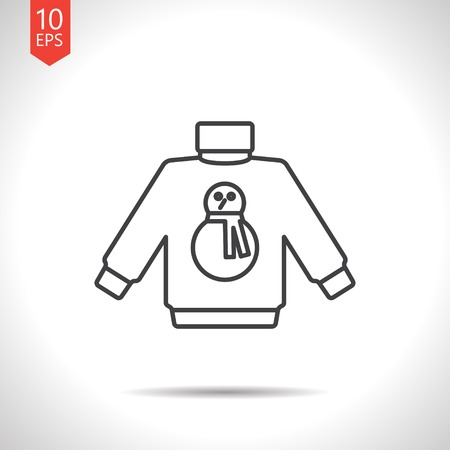 Vector christmas icon. New year illustration. Pullover with snowman Illustration