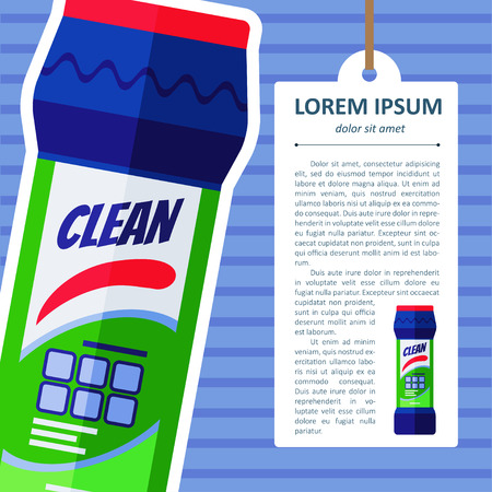 kitchen cleaning: Vector flat bottle with cleaning powder for kitchen, bathroom, toilet Illustration