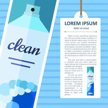 aerosol: Vector flat air freshener aerosol bottle. Ocean Illustration