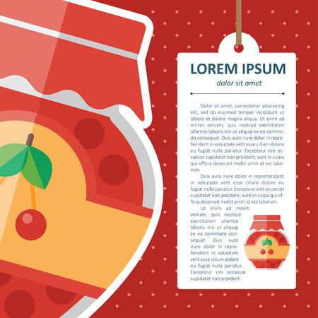 winter cherry: Vector color flat homemade jam bottle template.