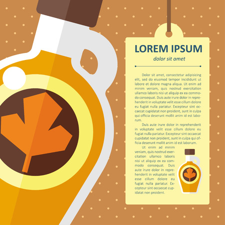 maple syrup: Vector color flat maple syrup bottle template.