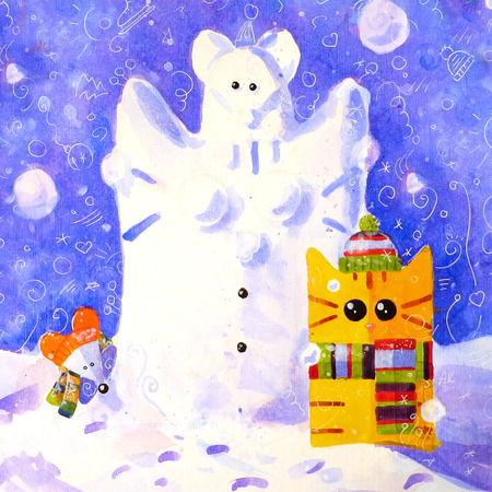 tomcat: Watercolor hand draw Illustration with yellow cat and mouse. Snowman