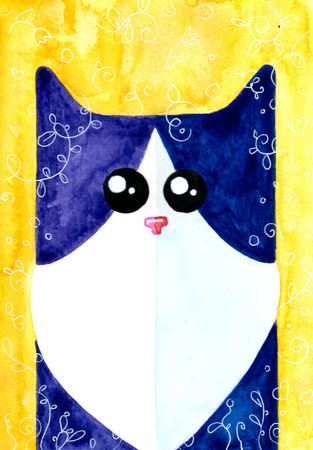 tomcat: Watercolor hand draw Illustration with black and white cat.