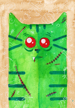 tomcat: Watercolor hand draw Illustration with cat.  Zombie