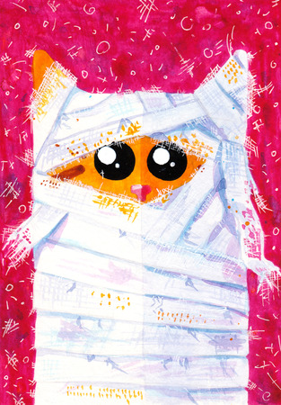 tomcat: Watercolor hand draw Illustration with yellow cat.  Mummy