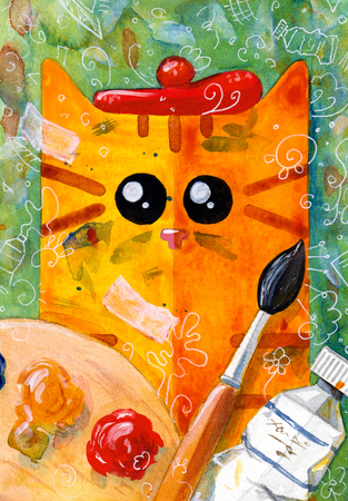puss: Watercolor hand draw Illustration with yellow cat.  Painter