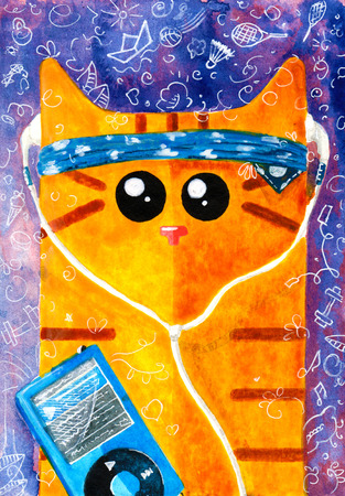 walkman: Watercolor hand draw Illustration with yellow cat. Stock Photo