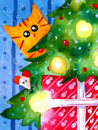 Watercolor hand draw Illustration with christmas cat