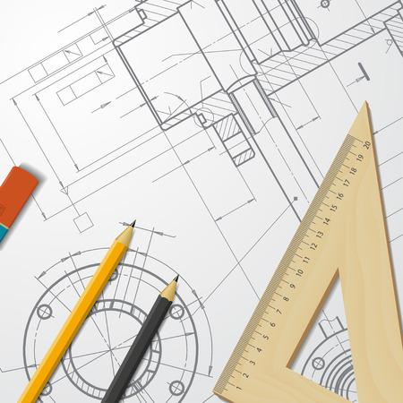 technical blueprint of  mechanism. Engineer illustration