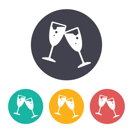 stemware: Vector flat stemware icon with set of 3 colors