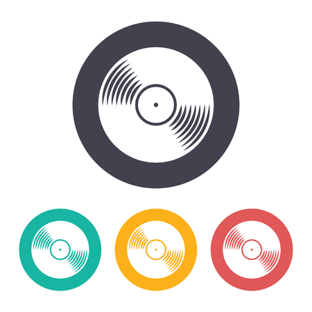 discotheque: Vector flat vinyl icon with set of 3 colors
