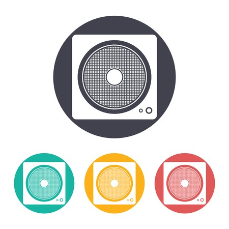 subwoofer: Vector flat music icon with set of 3 colors Illustration