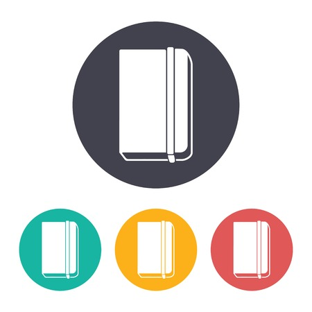 periodicals: Vector flat book icon with set of 3 colors