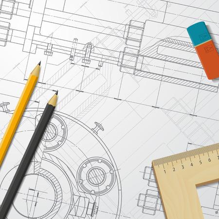 Vettore progetto tecnico di meccanismo. Ingegnere illustrazione