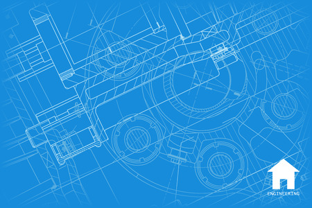 Vector technical blueprint of mechanism. Engineer illustration.  Architect background 版權商用圖片 - 58489014