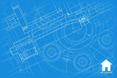 Vector technische blauwdruk van mechanisme. Ingenieur illustratie. Architect achtergrond