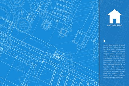 contractor: Vector technical blueprint of mechanism. Engineer illustration.  Architect background