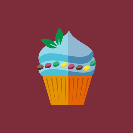 elaborate: Vector flat candy cupcake with mint on red background