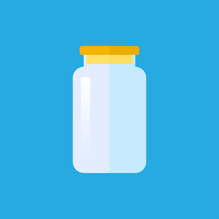 Empty transparent glass jar with cap. Vector illustration