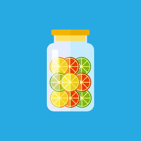 zest: Vector flat lemon jelly in jar icon. Dessert food illustration