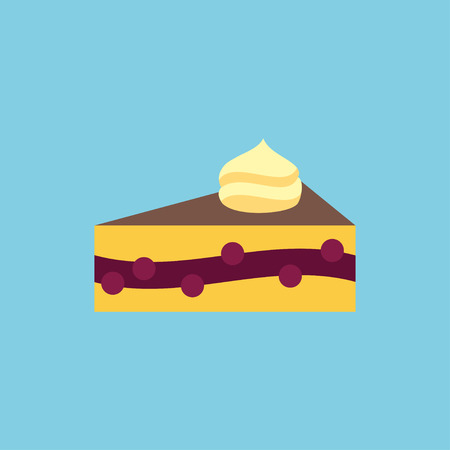 Vector cake slice icon. Dessert food illustration Illustration