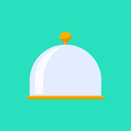 food plate: Vector flat cloche icon. Food plate illustration