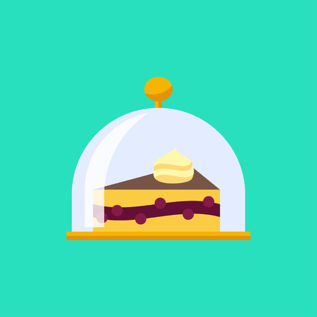 Vector flat cake in cloche icon. Food plate illustration Illustration