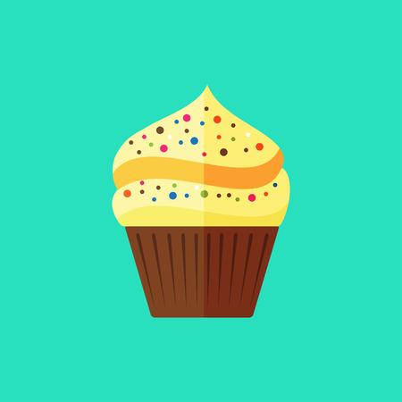 vanilla cupcake: Vector flat vanilla cupcake icon on blue background Illustration