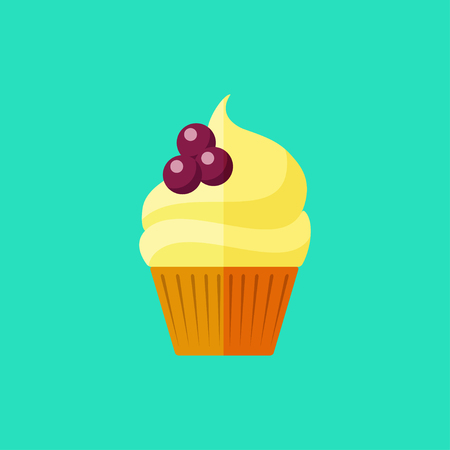 elaborate: Vector flat berry cupcake on blue background