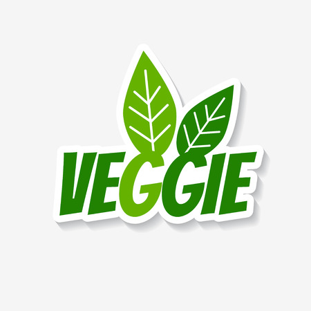 stamp design: Vector veggie sticker. Veggie product label. Template for ads, signboards, packaging and identity and web designs.