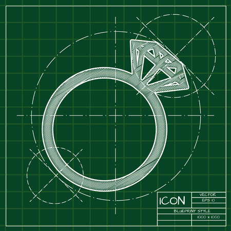 blueprint wedding ring icon. Engineer and architect background.