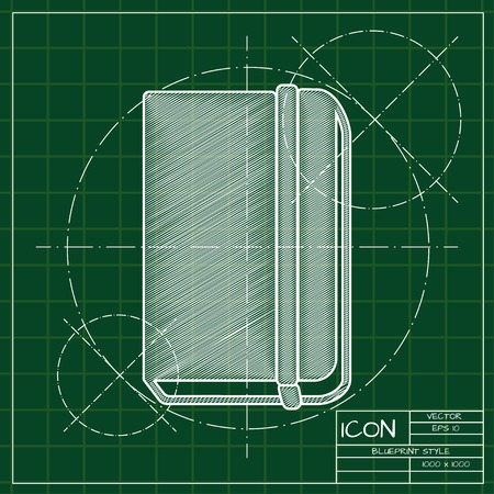 periodicals: blueprint book icon . Engineer and architect background.