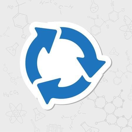 Vector flat sticker three arrows icon on white background