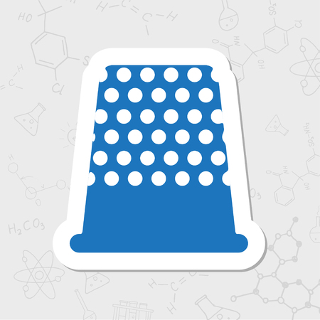 Vector flat sticker tailor thimble for finger icon on white background