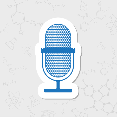 entertaining presentation: Vector flat sticker retro microphone icon on white background