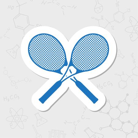 Vector flat sticker tennis rackets icon on white background Illustration