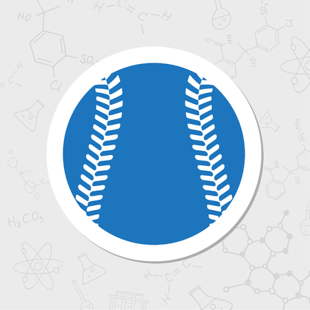 fast pitch: Vector flat sticker baseball icon on white background