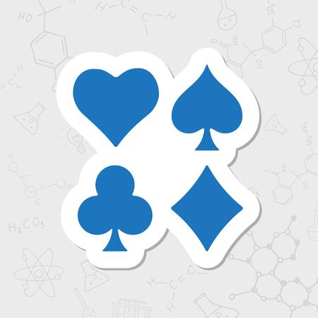 Vector flat sticker game casino cards suit icon on white background Vektoros illusztráció